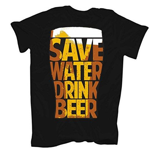 Männer und Herren T-Shirt GO PUB (mit Rückendruck) Schwarz