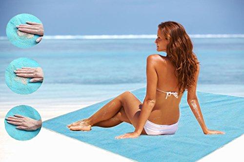 CAIGOGOO Strand Matte xxl 200x200 strandmatte wasserdicht stranddecke waschbar picknick rucksack wasserdicht wärmeisoliert strandmuschel isomatte(Blau)