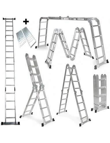 Grandmaster - Escalera Multifunción de aluminio 5,75M Plegable 6 en 1 Multiuso con Plataforma - AG/DLM-105-PL