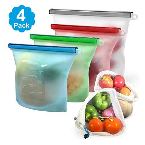 HEQUN Lebensmittelbeutel aus Silikon, wiederverwendbar, für Obst Gemüse Milch Snacks Fleisch (4 Packungen) - Fleisch-saft
