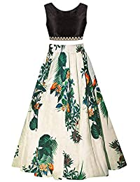 Clickedia Girl's Cotton Silk Semi-stitched Lehenga Suit (Black and White, 8-12 Years)