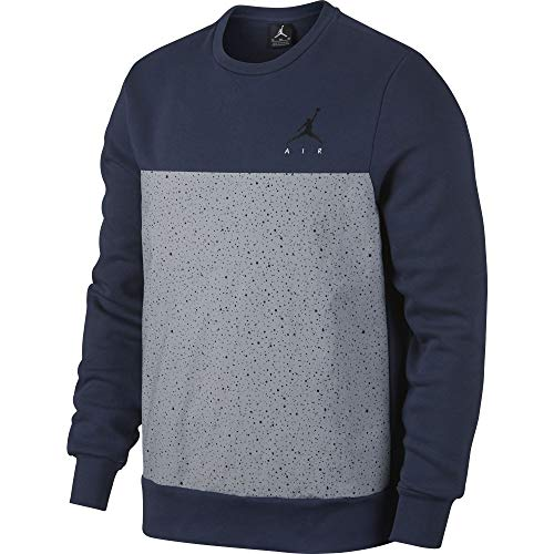 Nike Jordan Flight Fleece Cement Crewneck Men's Sweatshirt 884047-410 Midnight N