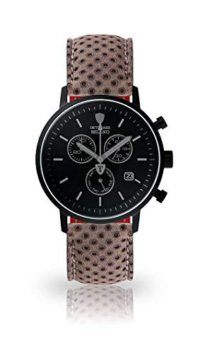 DETOMASO Milano Mens Watch Chronograph Analog Quartz Dark Grey Leather Strap Black dial DT1052-P-812