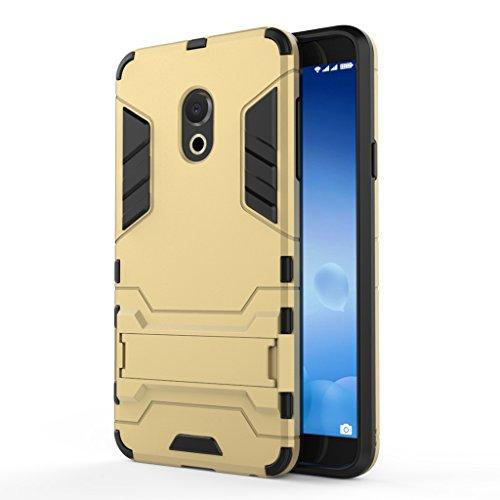 KaiTelin MEIZU M15 Hülle - Dual Layer Combo Fall Stoßfest Drop Resistance Schutz Tasche Handy Hülle mit Ständer für MEIZU M15 - Gold