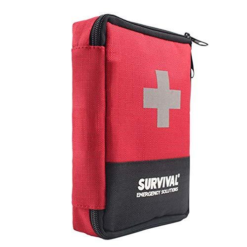Qnlly Rote Erste-Hilfe-Tasche leer, Erste-Hilfe-Kit leer Erste-Hilfe-Beutel klein Mini wasserdicht für Packung Notfall Wandern Rucksack Auto Camping Radfahren Reisen
