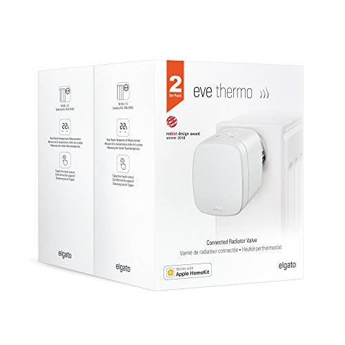 Eve Thermo 2er-Set - Heizkörperthermostat mit LED-Display, integriertes Touch-Bedienfeld, automatische Temperatursteuerung, keine Bridge erforderlich, Bluetooth Low Energy (Apple HomeKit)