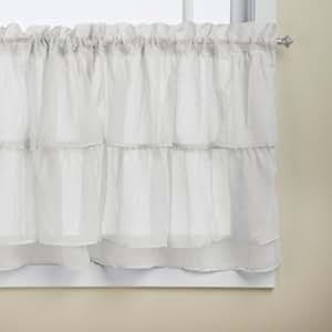 "Lorraine Home Fashions gypsy shabby chic Layered Ruffle Window tenda a pannello, White, Tier 60"" x 36"""
