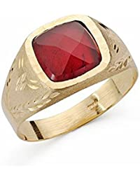 Sello oro 18k piedra espinela roja 9mm. cuadrado [AA2214]