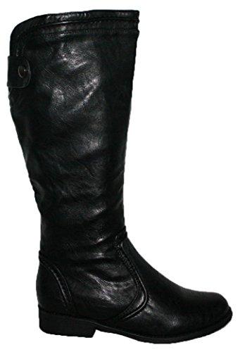 Mesdames R2Noir et Marron genou haute Bottes d'équitation avec fermeture éclair latérale Noir - noir