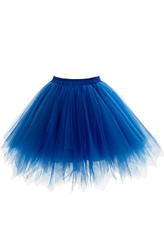 50er Kurz Retro Petticoat Tutu Rock Reifrock Ballett Tanzkleid Unterkleid Rockabilly für Kostüm Party Blau OneSize (Cocktail Party Kostüm)