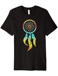 Traumfänger Regenbogen mit Federn Indianer T-shirt