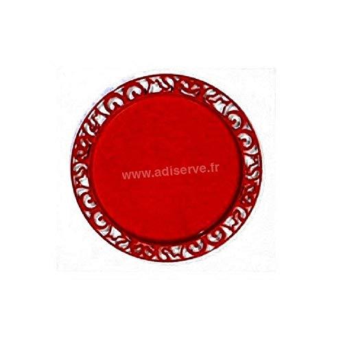Adiserve sous-Assiette Ronde 30 cm Rouge Carmin par 4