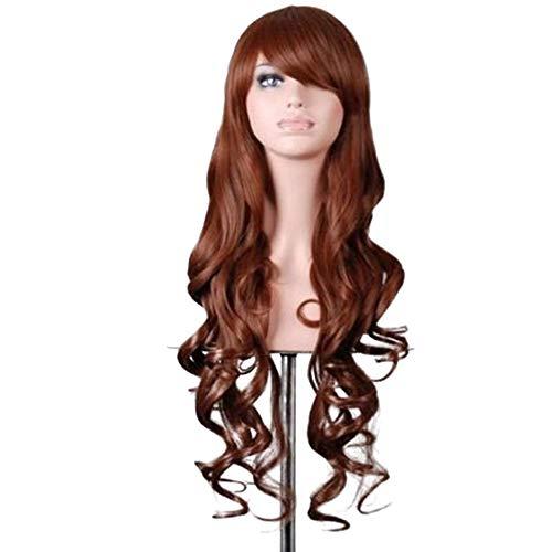 Homeofying Frauen-Normallack-Bunte Lange Wellenförmige Lockige Perücke Mit Schräg Gelegenem Geneigtem Knall Cosplay Hairpiece Anime-synthetischem Haar Braun