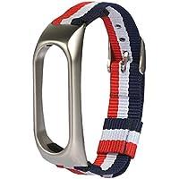❤️Xinan Banda de repuesto ajustable de nylon ligero Correa deportiva Para XIAOMI MI Band 2 (❤️Plateado)