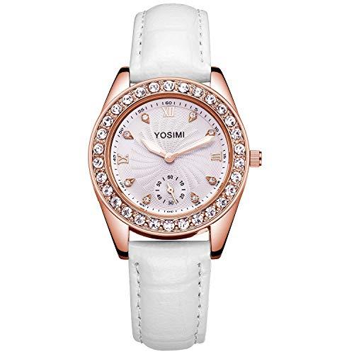 Quarzo di lusso da orologio da donna bianco - YOSIMI Orologio da polso da donna lussuoso Cinturino in pelle bianca Acciaio inossidabile oro rosa Cristalli Stile formale analogico