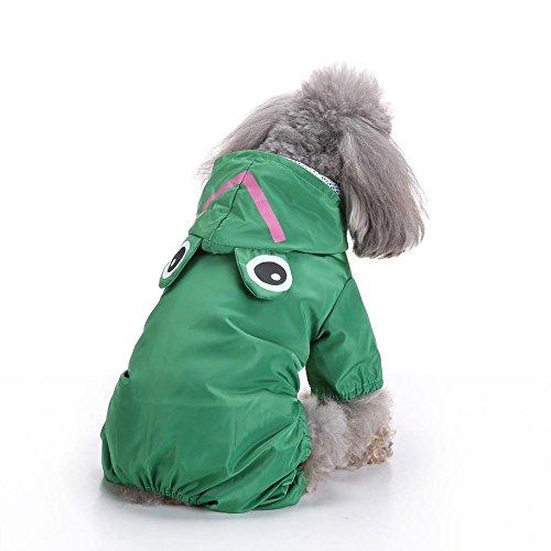 Doublehero Haustier Niedlich Tiermodellierung Kapuzen Regenmantel Regenjacke Hunderegenmantel Wasserdicht Kleidung Puppy Hund Raincoat (M, Grün)