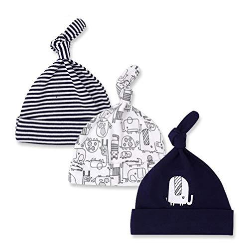 CuteOn 3 Paquete Bebé Beanie Nudo Sombrero Recién nacido Chicos Chicas Algodón Ajustable Gorra para Bebé 0-6 Meses 01-Elefante