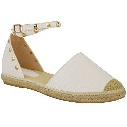 Damen Espadrille-Sandalen mit Knöchelriemen & Nieten - flache Sommerschuhe - Weiß Kunstleder - EUR 37