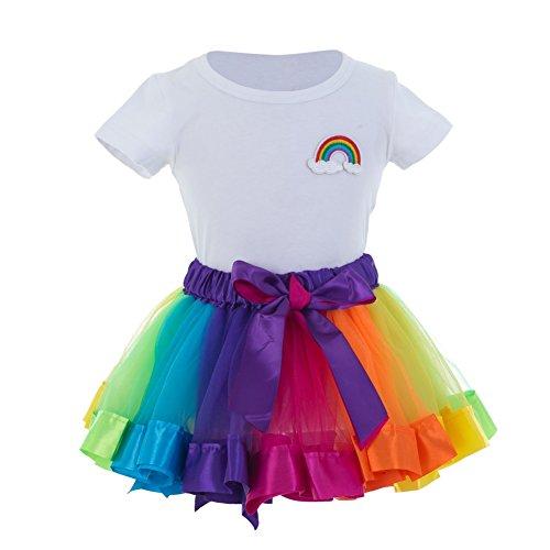 Baby Mädchen-weißes T-Shirt + Regenbogen-Ballettröckchen-Rock-Tanz-Kostüm, Halloween-Geburtstags-Hochzeits-Weihnachtsfest-Kleid