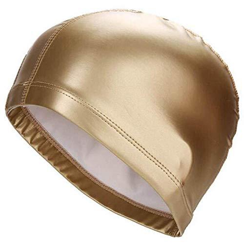 Tessuto Elastico Impermeabile in PU Proteggere i Capelli Lunghi Sport Piscina Cappello di Nuoto Cuffiaper Uomini e Donne di Colore Solido, A