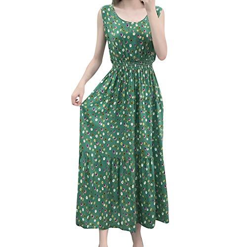 569ae9d172b6 Hokoaidel Vestidos para Mujer Vestido Playero Sin Mangas con Estampado  Vestido a Media Pierna Sin Mangas con Estampado Casual para Mujer de  Bohemian ...