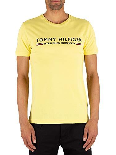 Tommy Hilfiger Herren Sporttop Essential Tee, Gelb (Yellow Cream 718) Large (Herstellergröße:L) - Gestickte Grafik Tee