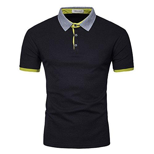Veravant Herren Poloshirt Uni kurze Ärmel Gelb Grün Schwarz tshirt polo Schwarz