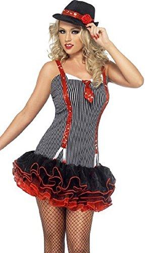 Damen Sexy 1920s Jahre Gangster Tutu Hen Party Kostüm Outfit 4-14 - Schwarz, ()