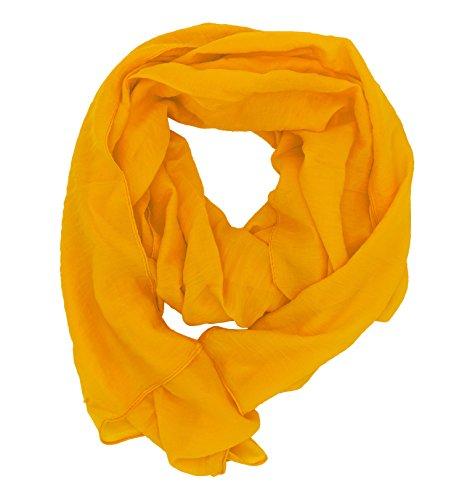 WILD CAT Damen Schal Halstuch Tuch aus Chiffon für Frühling Sommer Ganzjährig (Sonnengelb)