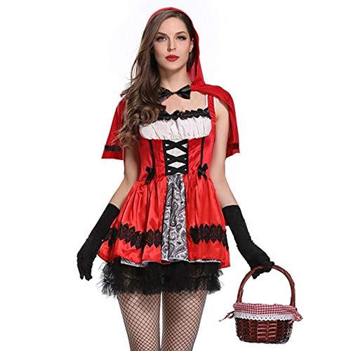 FRAUIT Kleid Damen Frauen 3 Stück Gothic Little Red-Cap mit Kapuze Party Kostüm Kleid Cape Handschuhe Set Sexy Kleidung Bluse Tops Dress