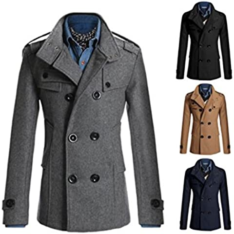 Junsi Giacca invernale da uomo, doppio petto in lana, stile