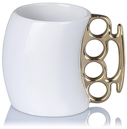 Grinscard Tazza in ceramica con impugnatura ad anello Henkel - Design Impugnatura Caffè bianco 0,35 l - Gadget Tazza regalo da caffè
