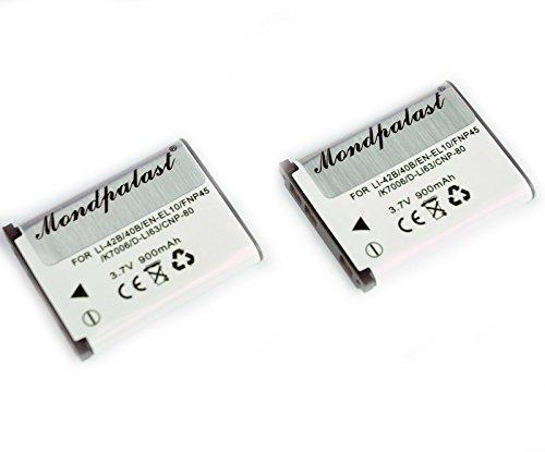 mondpalast@ 2X sostituzione Li-ion batteria EN-EL10 ENEL10 EN EL 10 900mAh + caricabatterie per Nikon COOLPIX S60, S80, S200, S202, S203, S210, S220, S225, S230, S500, S510, S520, S570, S600, S700, S3000, S4000 and S5100 S202 S203 Olympus FE Stylus X Series Pentax Optio Fujifilm finepix