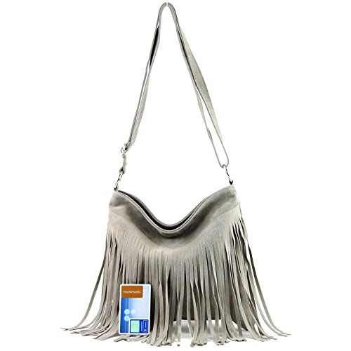 Borsa a mano borsa a tracolla shopping bag donna in vera pelle italiana T02 T145 Beigegrau