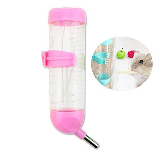 Pawaca 125ML Kleintier Trinkflasche, Brunnen Gesund Keine Tropfenkatzen Wasser Flasche Beste Wasser-Flasche für Kleines Haustier/Häschen/Frettchen/Hamster/Meerschweinchen/Critter- Rosa