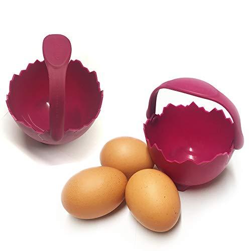 Molde para escalfar huevos, juego de la marca Homequip. Come huevos de forma saludable para desayunar. Gran diseño con asa de seguridad, incluye cepillo, silicona, Box of 2 Poacher