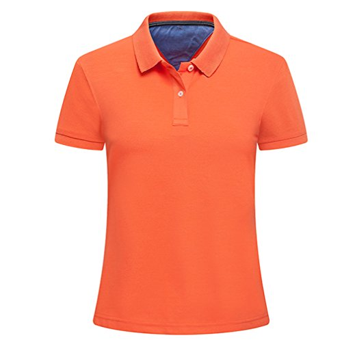 emansmoer Femmes Outdoor Wicking Golf Polo T-Shirts Dames Respirant Casual Élégant Manches Courtes Sports T-Shirt Fitness Tops (M, Orange)