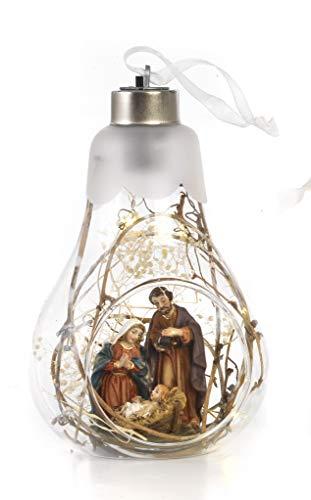 Presepe natività in resina dentro lampadina vetro illuminato con luce a led by paben