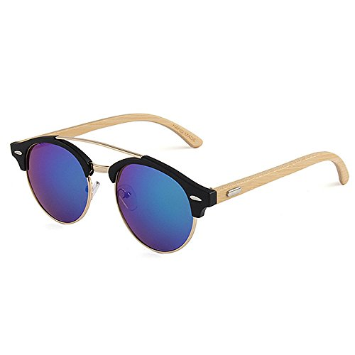 Yiph-Sunglass Sonnenbrillen Mode Retro Style Runde Form Bambus Sonnenbrille für Männer Frauen farbige Linse UV-Schutz Handwerk (Farbe : Grün)