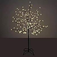شجرة بزهور مضيئة باضاءة ليد مزوّدة بالعديد من الفروع وازهار الكرز الابيض لتزيين المنزل وتُستخدم كمصباح للطوابق (الارتفاع: 150 سم)