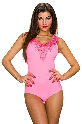 Power Flower Damen Body Bodytop Top Catsuit mit Spitze fein gerippt Dessous, verschiedene Farben Neonrosa