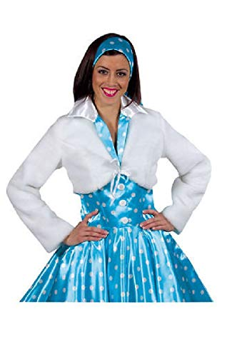narrenkiste M210113-1-M-A weiß Damen Bolerojacke Plüschjacke - Boogie Woogie Tanz Kostüm