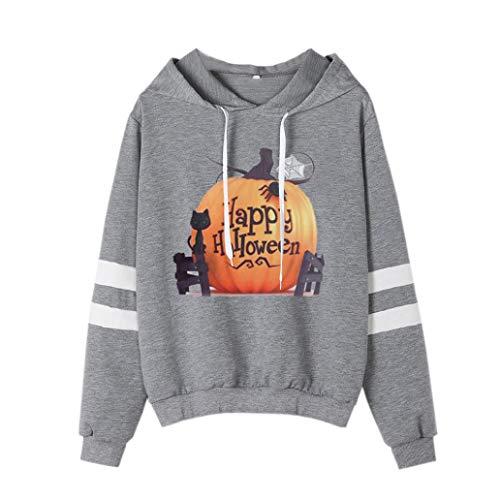 VEMOW Heißer Damen Halloween Printed Casual Sweatshirt Langarm Daily Party Sport Kapuzenshirt Bluse(Grau, EU-36/CN-S)
