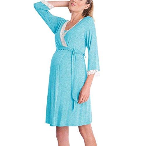 MCYs Umstandspyjama Stillschlafanzug Stillpyjama Umstandsnachthemd Kurzarm V-Ausschnitt Spitze Blumen Schwanger Nursing Pyjama-Kleid für Schwangere Baumwolle (S, Lange Ärmel Blau) -