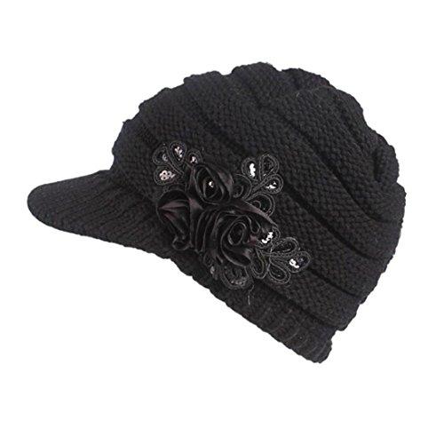 Damen Winter Strickmütze, SHOBDW Frauen Winter Strickmütze Barette Turban Krempe Hut Cap Pile Cap (Schwarz)