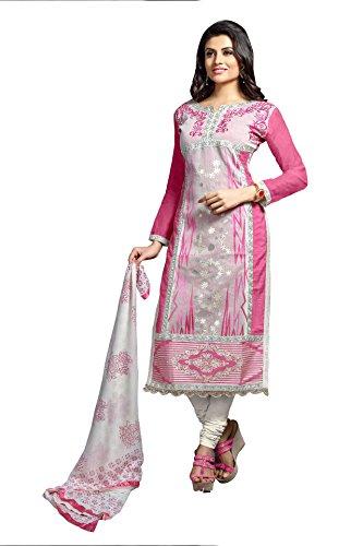 Manvaa Multi Colour Chanderi cotton Semi-stitched Suit with Dupatta