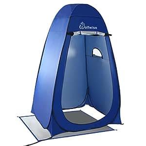 WolfWise Tente de Douche Toilette Cabinet de Changement Tente Instantanée Portable Camping Abri de Plein Air Vestiaire Amovible Extérieure Intérieure - Bleu