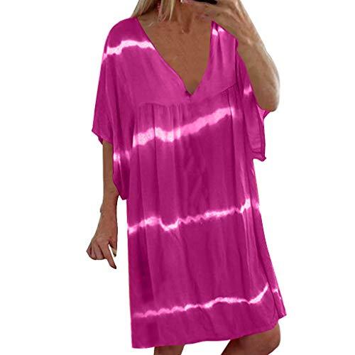 Honestyi Frauen Übergröße V-Ausschnitt Beiläufige Lose Pullover Tie Dye Print Mini Kleider Loses Kleid In Übergröße(Violett,XXXXXL) -