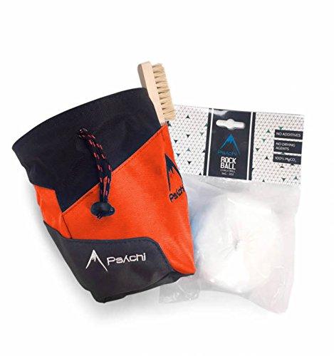 Psychi Premium-Kreidebeutel, Starter-Pack für Bouldern/Klettern, mit Taillen-Gürtel, Kreide-Ball und Bürste., Orange