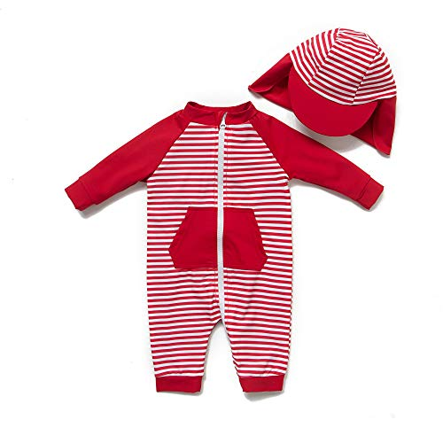 Baby Mädchen Ein stück 3/4 der ärmellänge UV-Schutz 50+ Badeanzug MIT Einem Reißverschluss(Rot-Stripe,3-6M)
